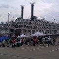 Passengers board the American Queen in Cincinnati