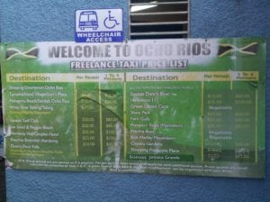 Taxi prices in Ocho Rios, Jamaica