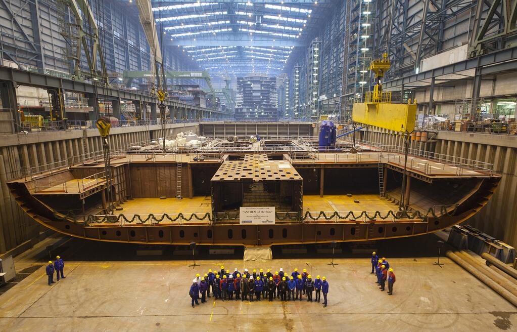 royal caribbean s anthem of the seas keel laid