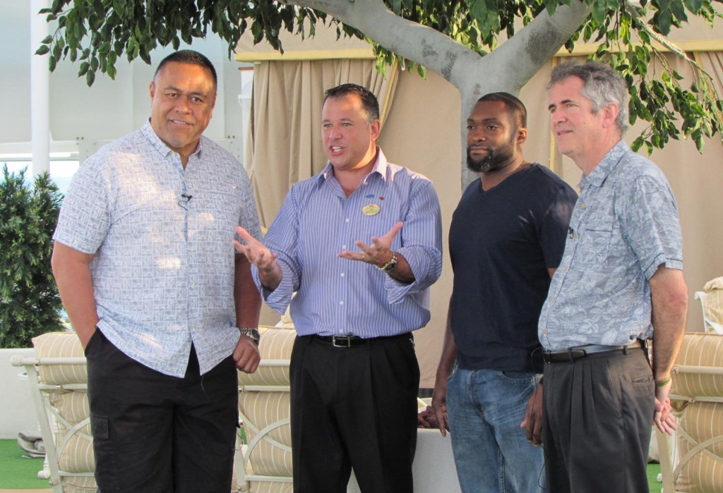 (left to right) 4 time Super Bowl Champion Jesse Sapolu, Cruise Director Lee Childers, Celebrity Chef Marc Anthony, & Author David Gamow on the Ruby Princess for Cruising with Heart. February 13, 2014