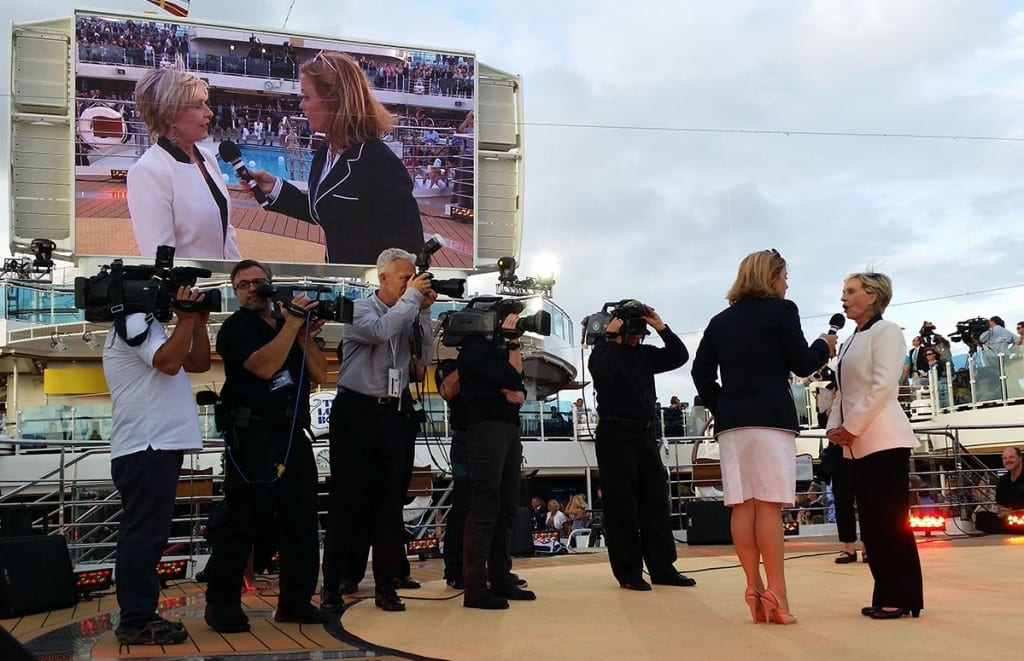 Gold carpet interview with Florence Henderson onboard the Regal Princess.