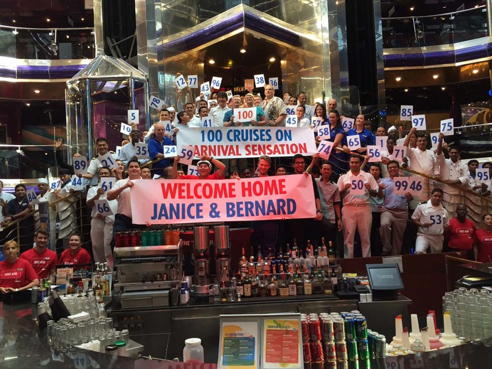 Florida Couple Takes 100th Cruise on Carnival Sensation
