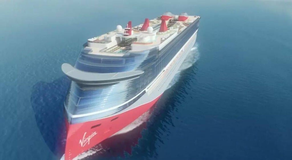 Artist rendering of the futuristic design for Virgin cruise ships.