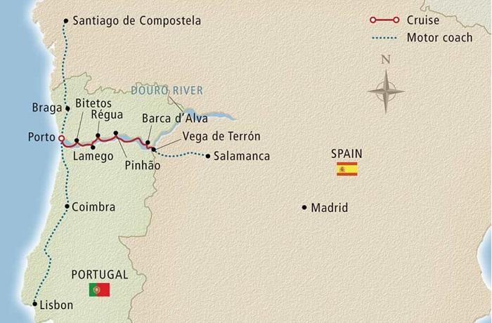 portugal river cruise viking map