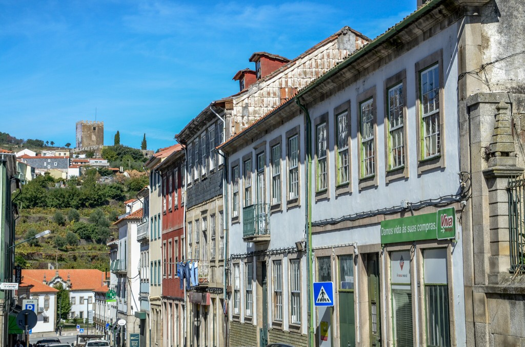 Lamego town center with historic castle on top of the hill