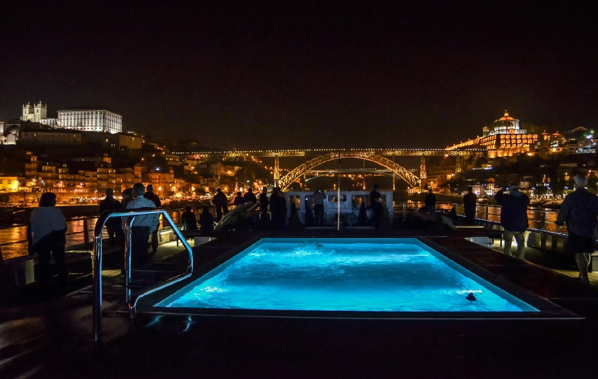 viking torgil pool at night in porto portugal