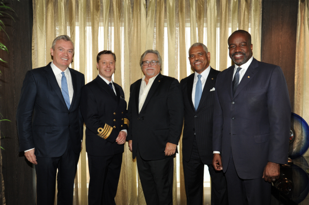 From left: Holland America Group Chief Executive Officer Stein Kruse; Koningsdam's Captain Emiel de Vries; Carnival Corporation & plc Chairman Micky Arison and President and CEO Arnold Donald; and Ashford