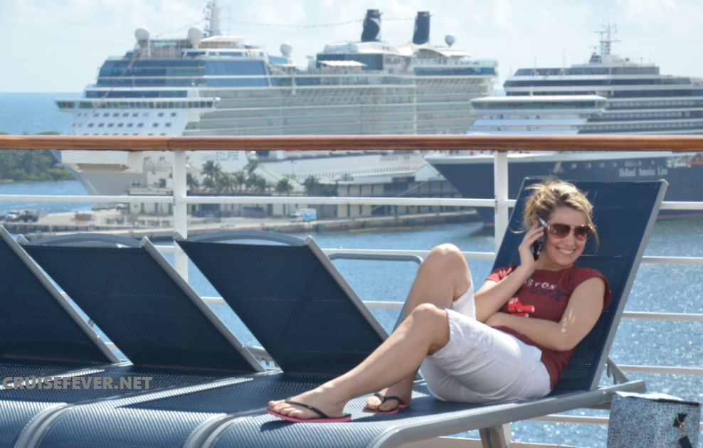 cell phone on cruise ship