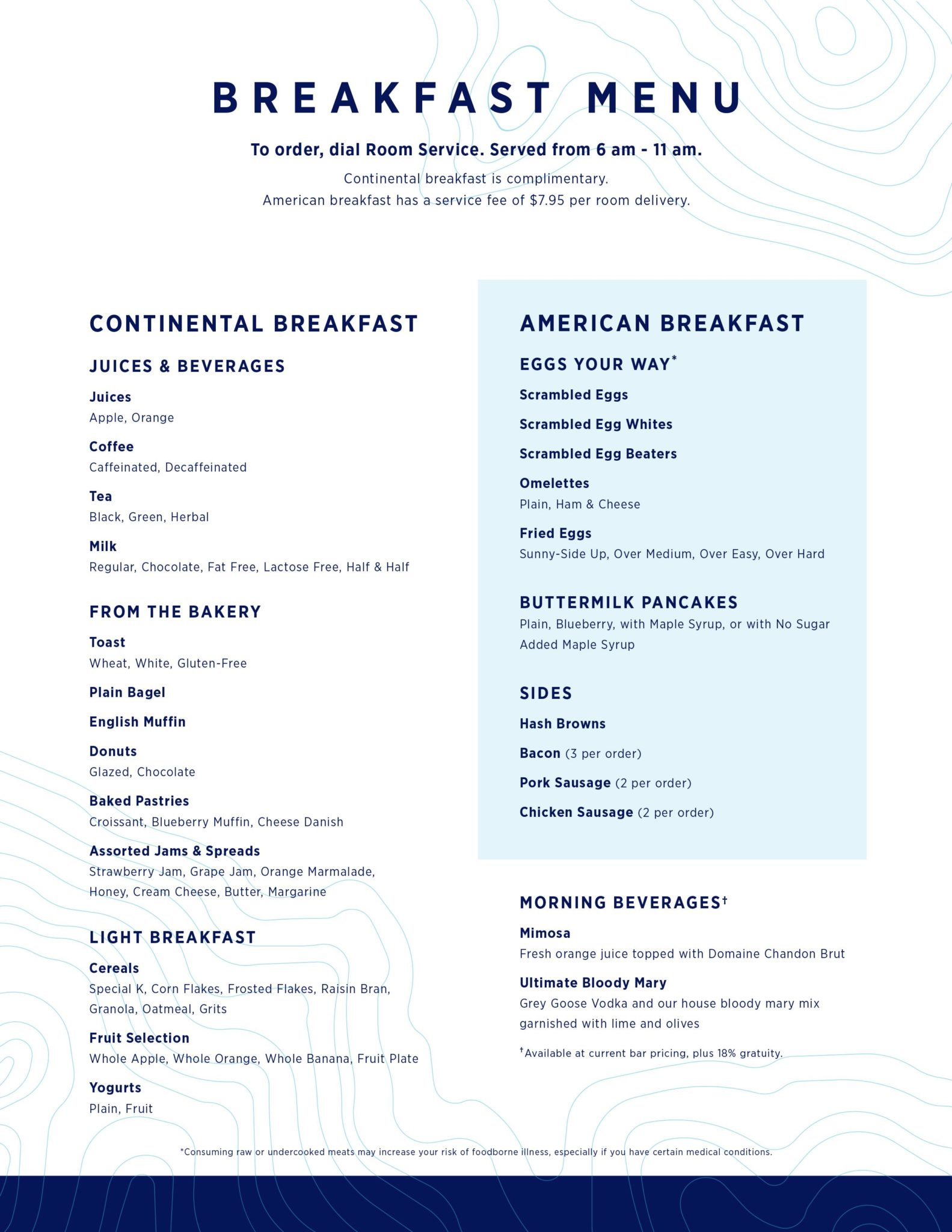Royal Caribbean S New Upgraded Room Service Menu