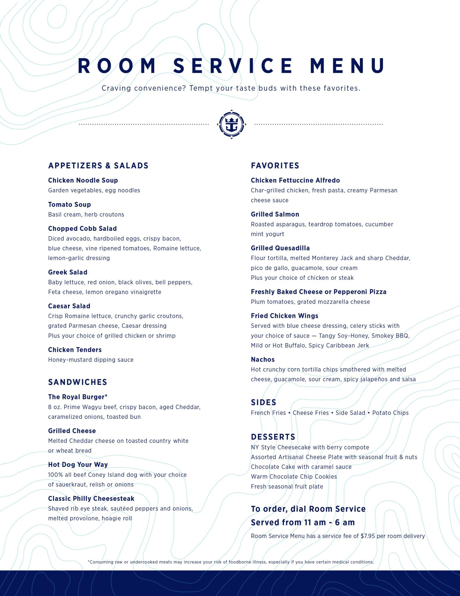 Mariner Of The Seas Room Service Menu