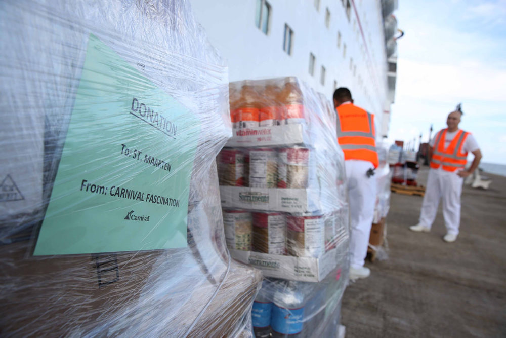 Carnival Cruise Ship Delivers Water And Food Supplies For St Maarten - Cruise ship supplies