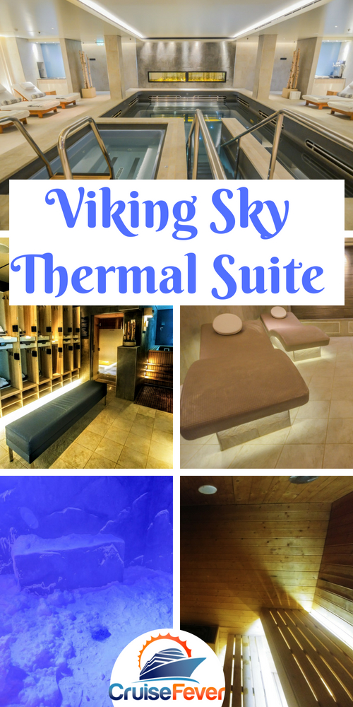 The Viking Sky thermal suite is one of the best at sea.  Here are 9 pictures of this amazing spa and why you should check it out yourself for your next Viking ocean cruise. #cruisefever #cruise #viking #vikingsky #vikingcruisespa #thermalsuite