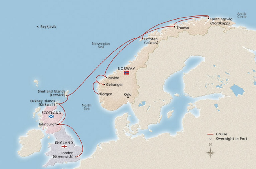 midnight sun viking itinerary
