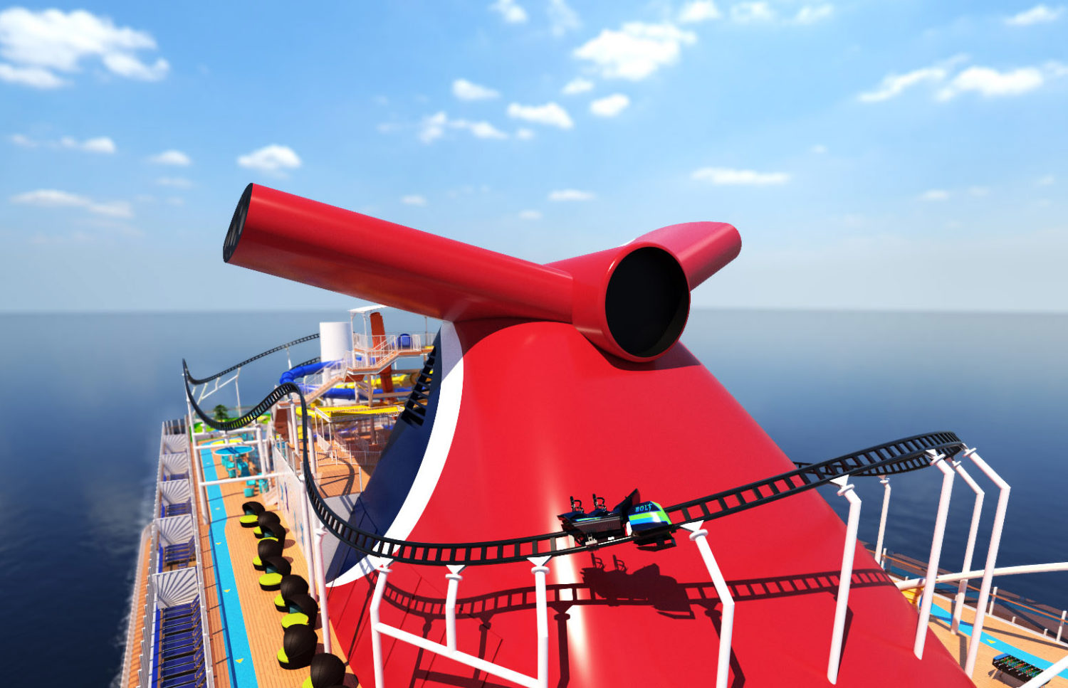 Carnival Cruise Line's cruise ship with a roller coaster