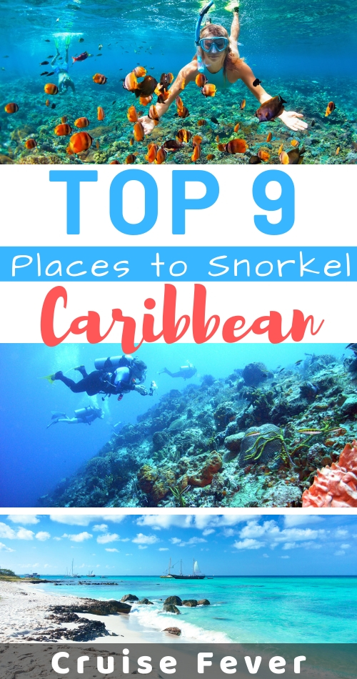 Looking for the very best places to snorkel in the Caribbean?  These are the top 9 islands and locations to snorkel in all of the Caribbean, whether you're on a cruise or a fun vacation. #snorkel #caribbean #bestsnorkeling #cruisefever