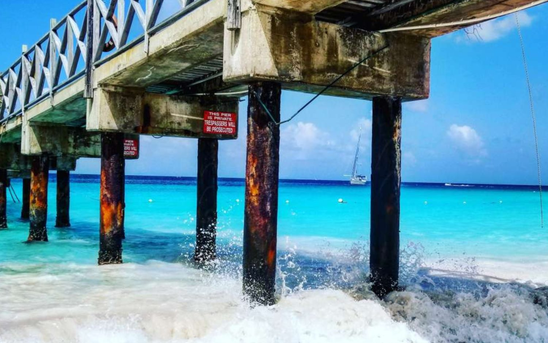 pier on barbados beach