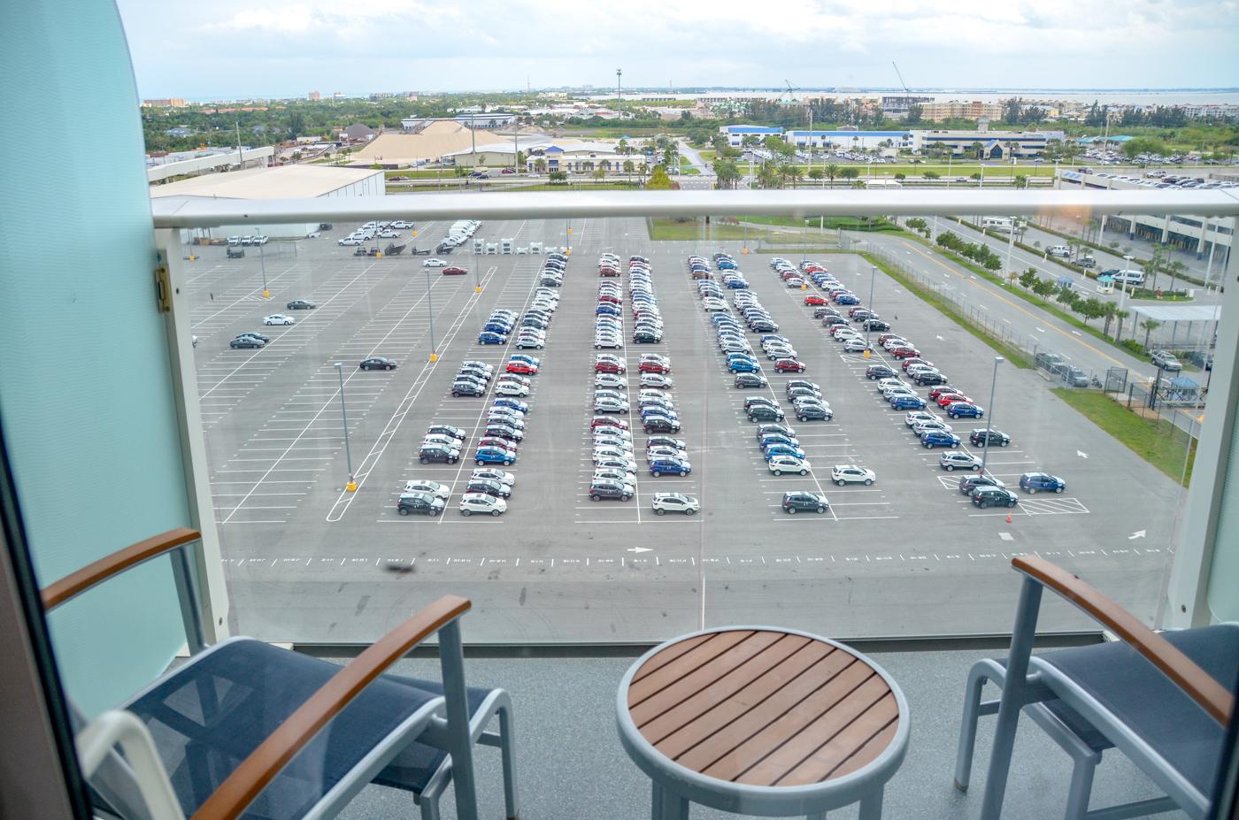 cruise balcony in port