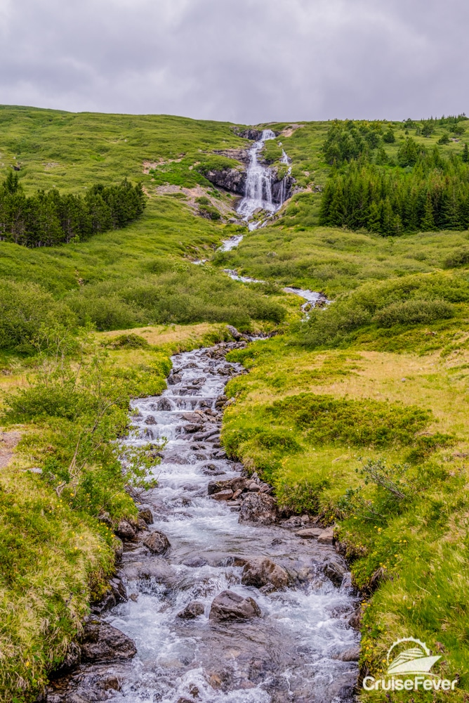 waterfall and stream in ĺsafjördur